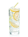 Gin tonic cocktail lemon over white background Royalty Free Stock Images