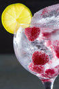 Gin tonic cocktail with raspberry and ice macro closeup lima slice on black Royalty Free Stock Images