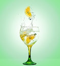 Gin tonic glass of and with lemon Stock Images
