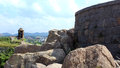 Gingee fort battlement a ruined at tamilnadu india Royalty Free Stock Image