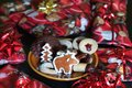 Ginger bread cookies and Christmas gifts.