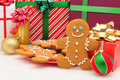 Ginger Bread Man and Christmas Presents Stock Photography