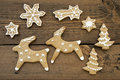Ginger Bread Reindeers, Stars, Snowflakes and Trees Royalty Free Stock Photo