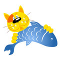 Ginger cat holding a fish in its claws Royalty Free Stock Photos