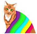 Ginger cat under a colourful blanket illustration of sitting Royalty Free Stock Photography