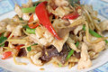 Ginger chicken stir fry the picture in dish Royalty Free Stock Image