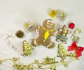 Ginger and honey different shape cookies with a lot of Christmas balls, presents Royalty Free Stock Photo