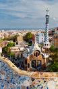 Ginger house on park guell and mosaics barcelona little entrance of at in spain Stock Image