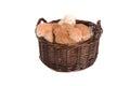 Ginger kittens in einem korb Stockbild