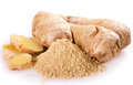 Ginger with powder isolated on white background Royalty Free Stock Photography