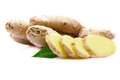 Ginger root with leaf. Royalty Free Stock Photo