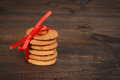 Ginger snap cookies with red bow Royalty Free Stock Photo