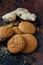 Ginger snaps on black Royalty Free Stock Photo
