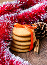 Ginger snaps cookies and christmas decoration Stock Photos