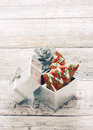 Ginger snaps in silver gift box Royalty Free Stock Photo