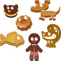 Gingerbread animals illustration of man with set of different on white background Stock Photos