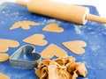 Gingerbread baking on blue nonstick silicone mat Stock Photography