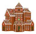 Gingerbread big house with christmas candies, gingerbread man and gingerbread tree Royalty Free Stock Photo