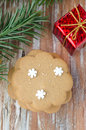 Gingerbread, branch of spruce, gift box Royalty Free Stock Photography