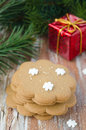 Gingerbread, branch of spruce and gift box Royalty Free Stock Photo