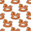 Gingerbread brown horses seamless pattern background for christmas design Royalty Free Stock Photo