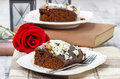 Gingerbread cake with chocolate and hazelnuts selective focus festive party dessert Royalty Free Stock Photos