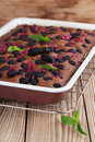 Gingerbread cake with mulberries and red currants shallow dof Royalty Free Stock Images
