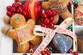 Gingerbread with christmas decorations traditional homemade man colorful Stock Image