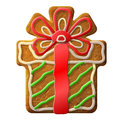 Gingerbread christmas gift decorated colored icing holiday cookie in form of box qualitative vector eps illustration for Royalty Free Stock Image