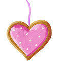 Gingerbread christmas heart cookie acrylic illustration of Royalty Free Stock Photography