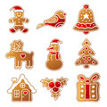 Gingerbread christmas set of gingerbreads illustrations Royalty Free Stock Photo