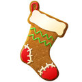 Gingerbread christmas stocking decorated colored i holiday cookie in form of sock qualitative vector eps illustration for new Stock Images