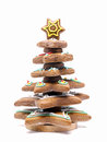 Gingerbread christmas tree over white background Royalty Free Stock Photography