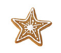 Gingerbread cookie in the form of a star decorated for christmas with icing Stock Images