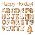Gingerbread cookies alphabet holidays ginger cookie isolated font text food biscuit xmas letter vector illustration Royalty Free Stock Photo