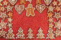 Gingerbread cookies border homebaked christmas Stock Photography
