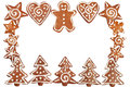 Gingerbread cookies border homebaked christmas isolated on white Stock Photo