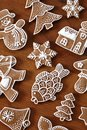 Gingerbread cookies christmas on wooden background Royalty Free Stock Photo