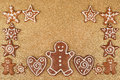 Gingerbread cookies homebaked christmas border Stock Photography