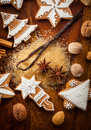 Gingerbread cookies with nuts and spices Stock Photography