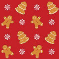 Gingerbread Cookies Seamless Pattern Royalty Free Stock Images