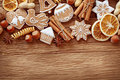 Gingerbread cookies and spices Royalty Free Stock Photo