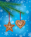 Gingerbread cookies on xmas tree Royalty Free Stock Image