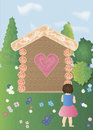 Gingerbread cottage in the forest glade with flowers and girl Royalty Free Stock Photography