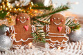 Gingerbread couple cookies with decoration for christmas Royalty Free Stock Image