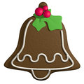 Gingerbread d cartoon christmas bell with holly shape and candy mistletoe Stock Photo