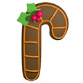 Gingerbread d cartoon christmas stick with holly ginger bread shape and candy mistletoe Stock Image