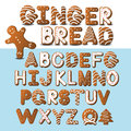 Gingerbread font and gingerbread man eps vector Royalty Free Stock Photography