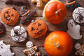 Gingerbread for Halloween and pumpkin closeup. horizontal top vi Royalty Free Stock Photo