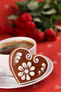 Gingerbread heart and coffee Stock Image